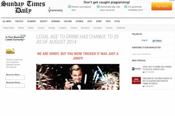 Legal Drinking Age Changed to 25 Hoax Graphic