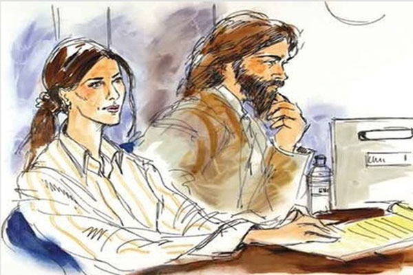 Jennifer Aniston & Brad Pitt Courtroom Sketch