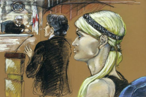 Paris Hilton Courtroom Sketch Graphic