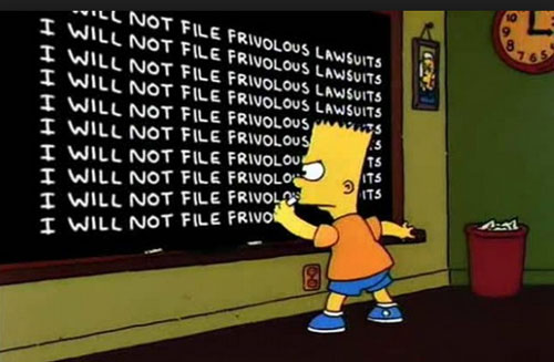 Frivolous Lawsuits Chalkboard from the Simpsons Graphic