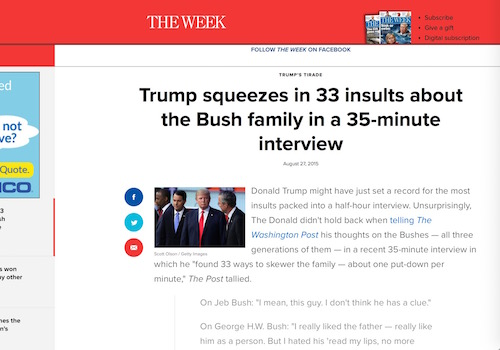 'Trump Squeezes 33 Insults About Bush Family Into 35-Minute Interview'