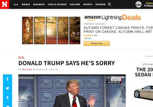 'Donald Trump Says He's Sorry' Headline