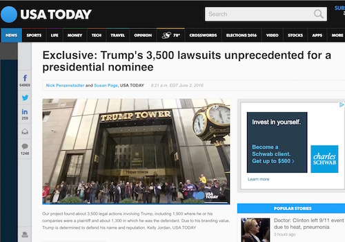 'Exclusive: Trump's 3,500 Lawsuits Unprecedented for a Presidential Nominee' Headline