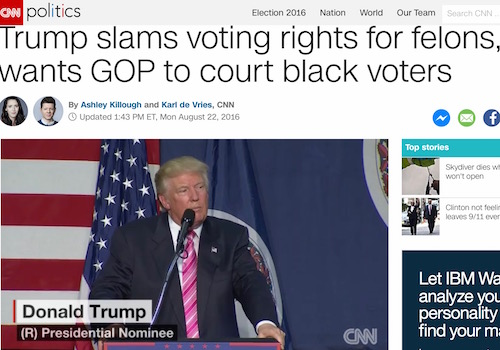 'Trump Slams Voting Rights for Felons, Wants GOP to Court Black Voters' Headline
