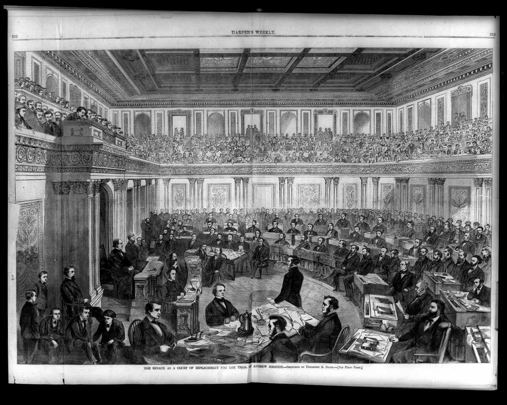 The Impeachment Trial of President Andrew Johnson.  Image Source: wikipedia.org