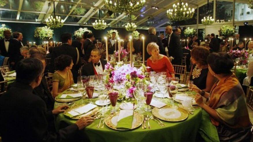 State dinners are paid for by taxpayers. Image Source: foxnews.com
