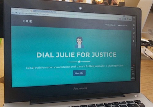 Computer Screen Capture of Julie, a Legal Chat Bot Program