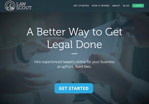 Screenshot of Law Scout, a Fixed-Fee Legal Services Site Powered by Artificial Intelligence