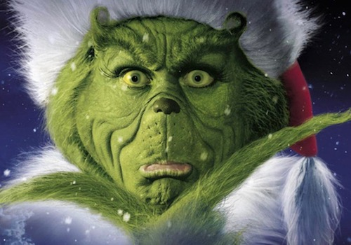 Picture of Jim Carrey in full How the Grinch Stole Christmas Film Makeup