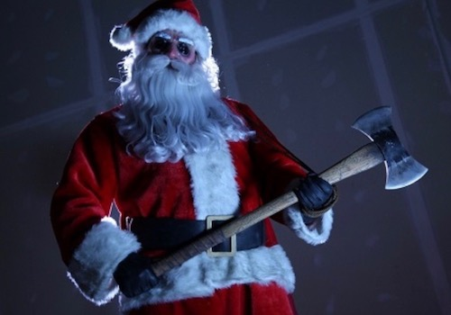 An Evil Krampus Santa Holding an Axe and up to no Good