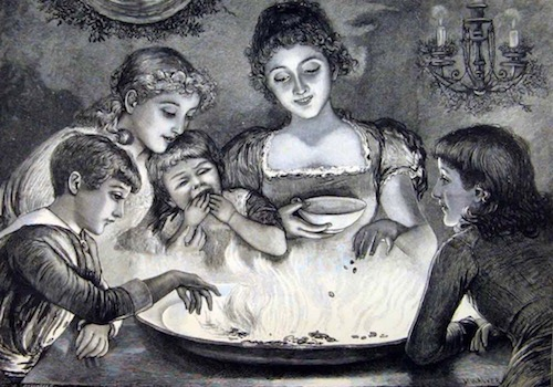 Victorian Picture of Mother and Kids playing Snap Dragon, pulling Raisons out of a Brandy Fire and eating them