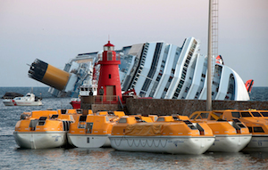 Cruise ship accident Costa Concordia flipped over