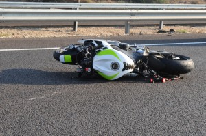 Sportbike on its side after a motorcycle accident