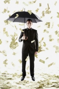 Money raining down on Middle Eastern businessman