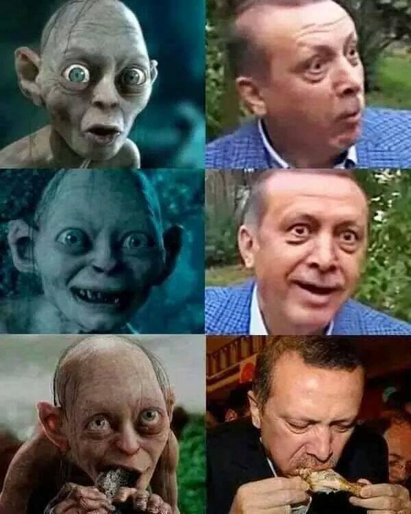 Images comparing Turkish PM to Gollum