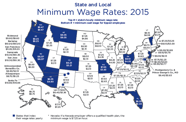 Map of 2015 Minimum Wages