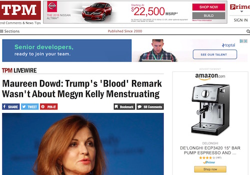 "'Maureen Dowd: Trump's ""Blood"" Remark Wasn't About Megyn Kelly Menstruating' Headline"