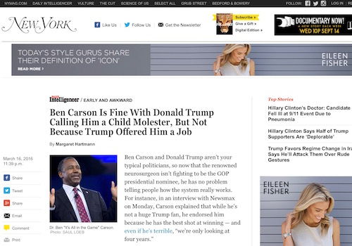 'Ben Carson Is Fine with Donald Trump Calling Him a Child Molester, But Not Because Trump Offered Him a Job' Headline