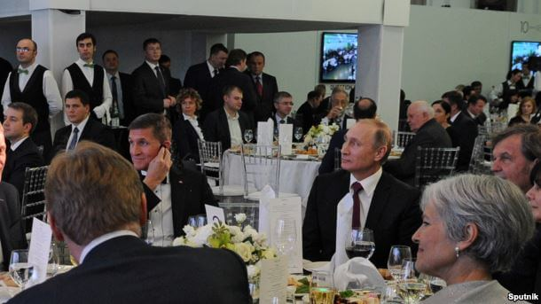 Former national security advisor Michael Flynn attending dinner with President Putin. Image Source: mindfood.com