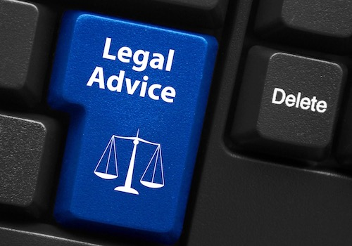A Legal Advice Button on a Computer Keyboard next to the Delete Key