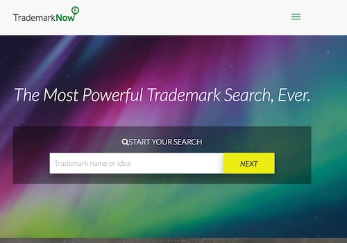 Screenshot of TrademarkNow an AI-powered Trademark Search Engine