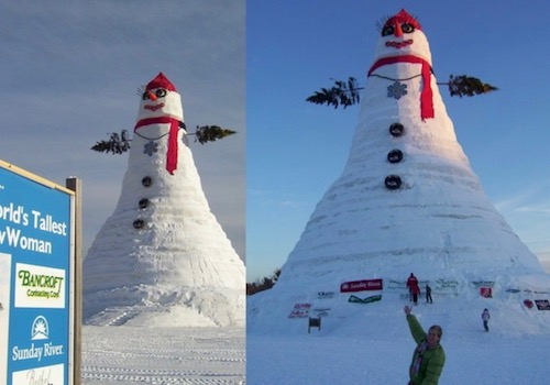 Pictures of the World's Tallest Snowman from Bethel, ME