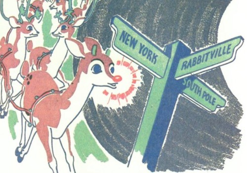 Picture of Rudolph Leading Reindeer and Approaching a Road Sign that says NY, Rabbitville and the South Pole