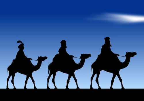 Picture of 3 Wise Men on Top of Camels Riding in Profile
